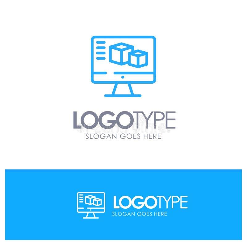 Komputer, monitor, pudełko, Oblicza Błękitnego logo Kreskowego styl ilustracji