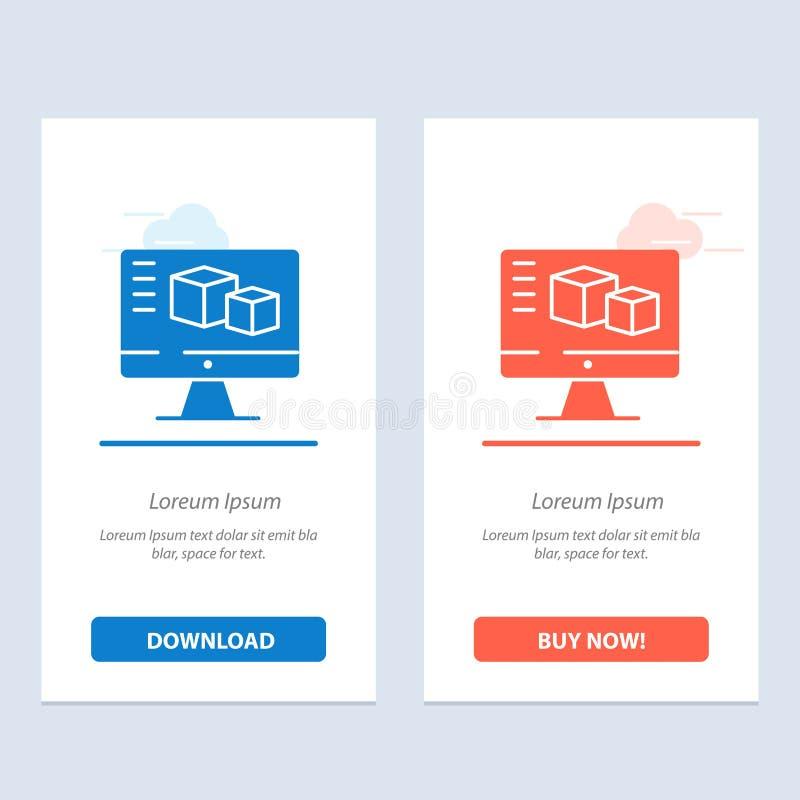 Komputer, monitor, pudełko, Obliczający błękita i Czerwonej sieci Widget karty szablon Teraz ściągania i zakupu royalty ilustracja