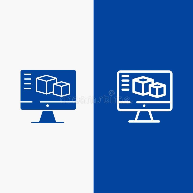 Komputer, monitor, pudełko, Obliczający linii i glifu ikonę Stały błękita sztandar ilustracja wektor