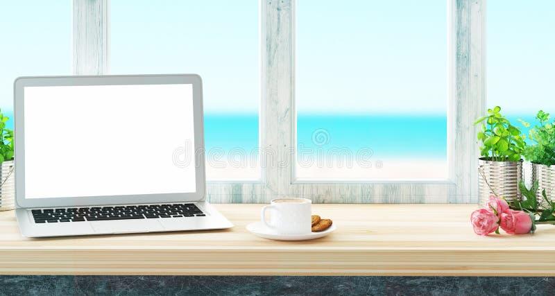 Komputer na biurku i morze przeglądamy, pracujemy na wakacje, ilustracji