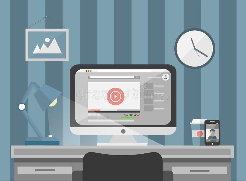 Komputer na biurku pokazuje odtwarzacza muzycznego programuje ilustracja wektor