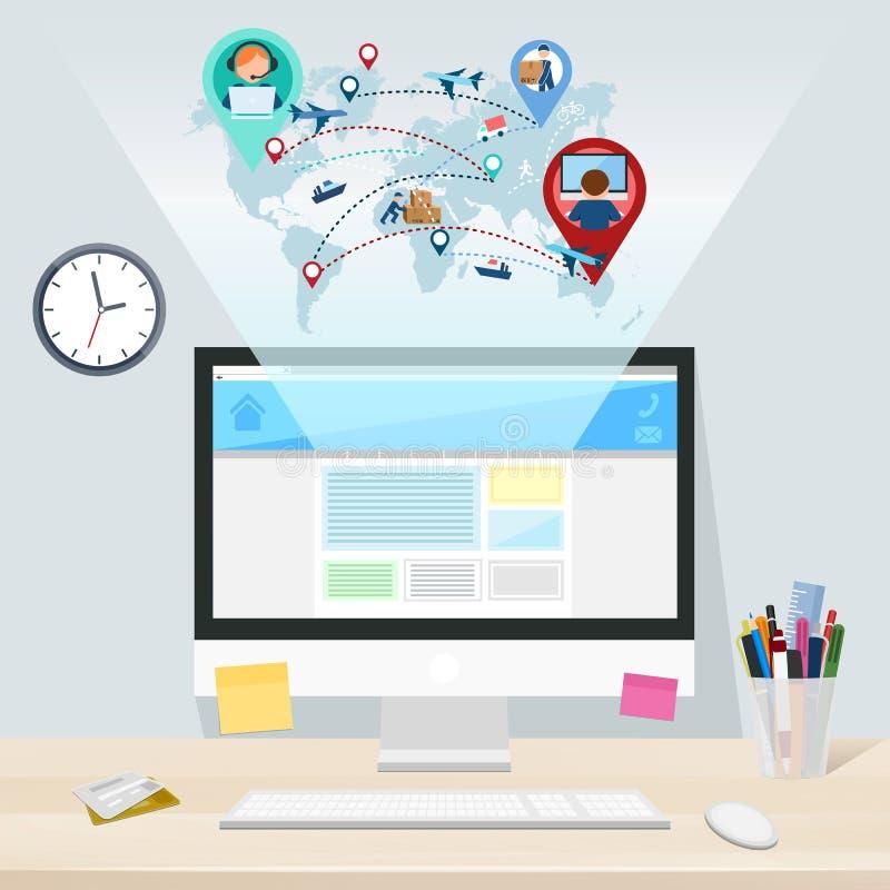 Komputer na desktop, karciana dostawa od strony internetowej, wektor ilustracji