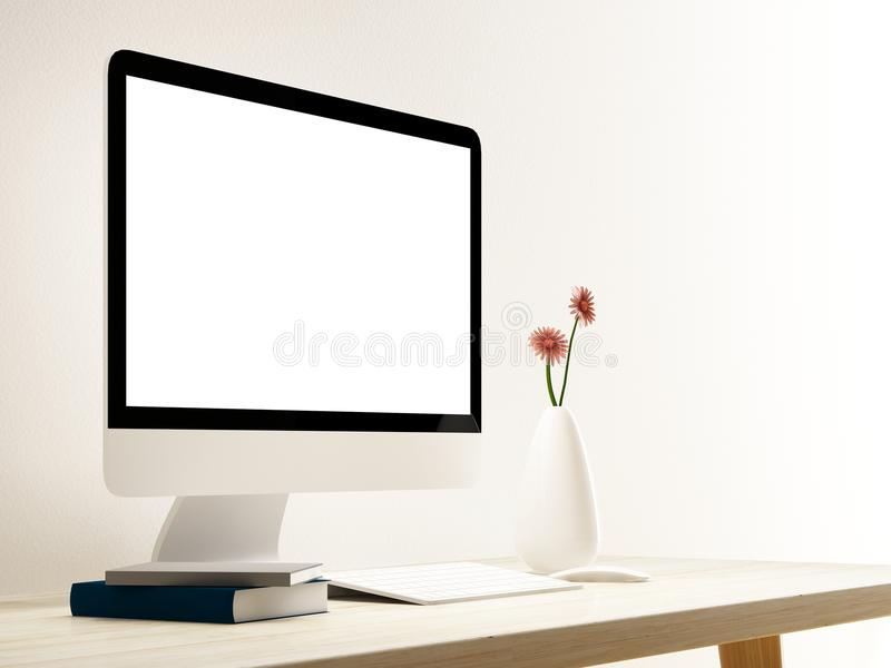 Komputer na drewno stole w pokoju ilustracji
