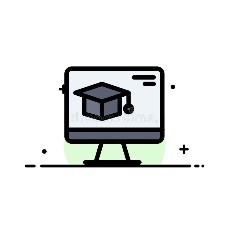 Komputer, nakrętka, edukacja, skalowania mieszkania ikony sztandaru Biznesowa linia Wypełniający Wektorowy szablon royalty ilustracja