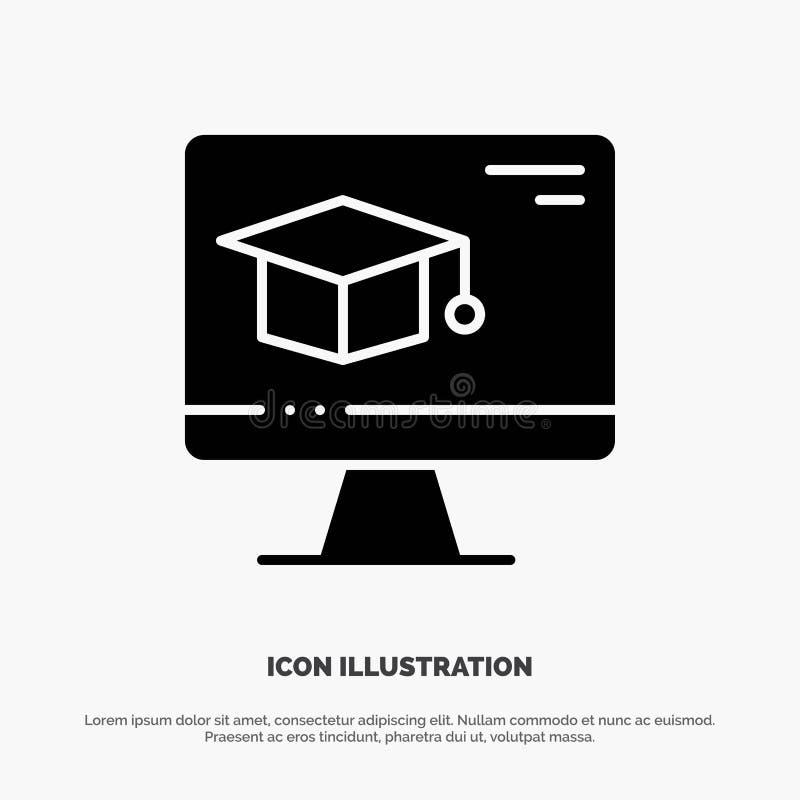Komputer, nakrętka, edukacja, skalowanie glifu ikony stały wektor royalty ilustracja
