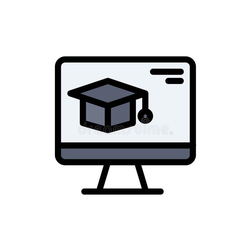 Komputer, nakrętka, edukacja, skalowanie koloru Płaska ikona Wektorowy ikona sztandaru szablon royalty ilustracja