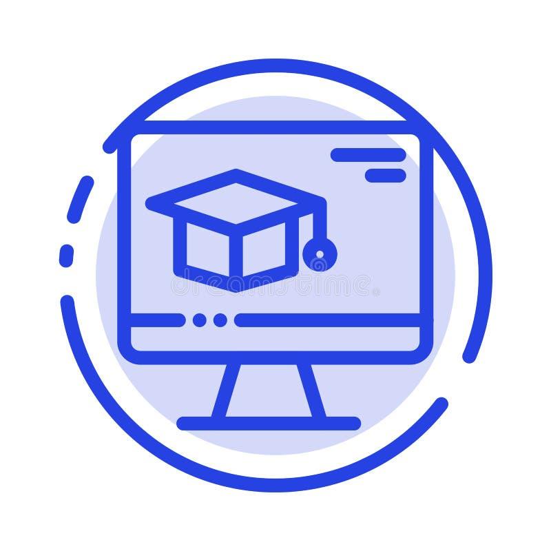 Komputer, nakrętka, edukacja, skalowanie linii linii błękit Kropkująca ikona ilustracja wektor