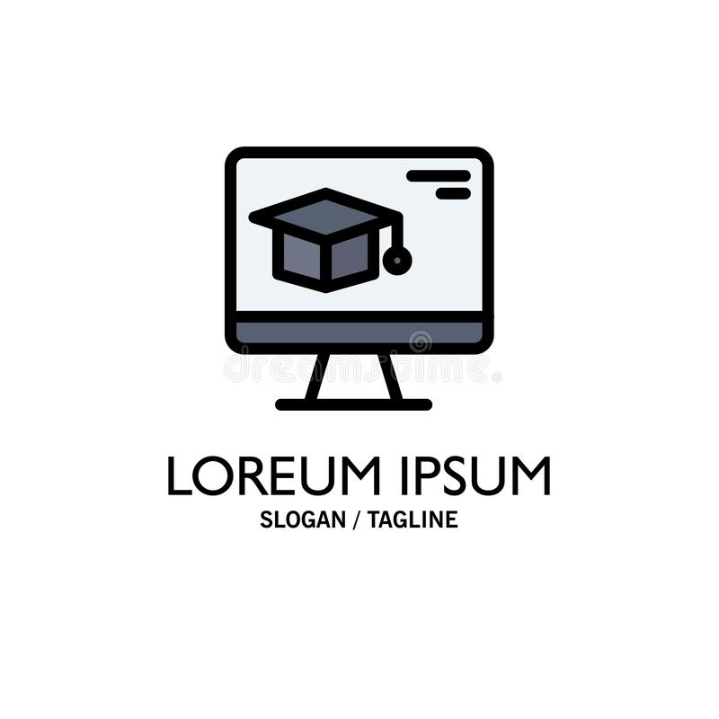 Komputer, nakrętka, edukacja, skalowanie logo Biznesowy szablon p?aski kolor royalty ilustracja