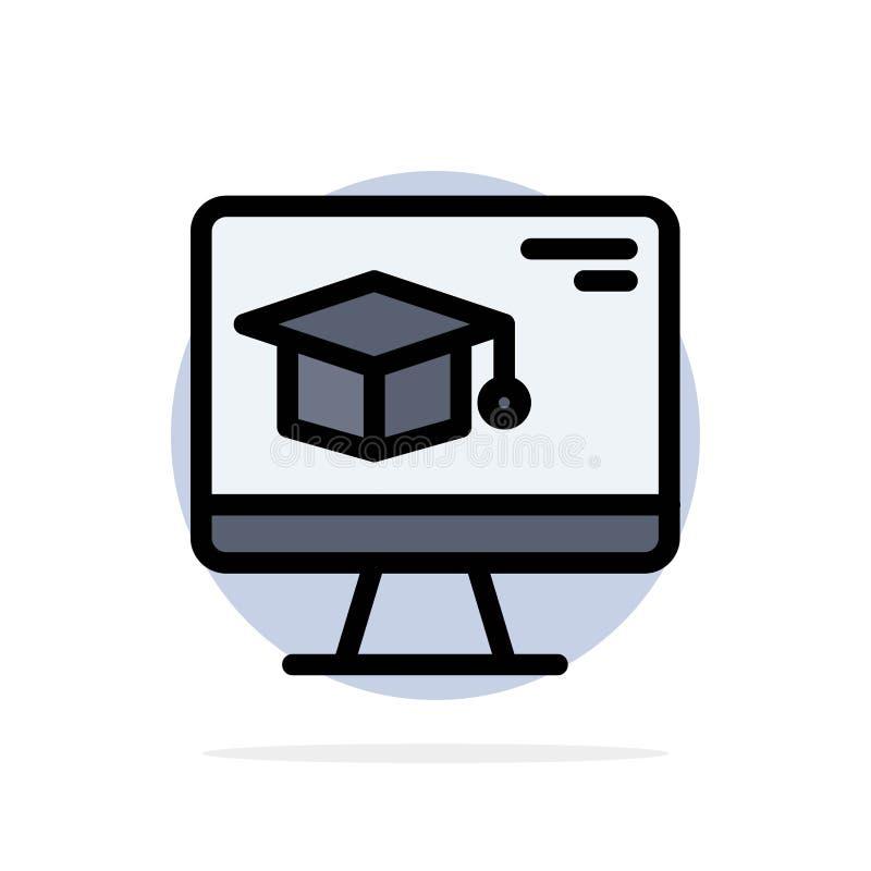 Komputer, nakrętka, edukacja, skalowanie okręgu Abstrakcjonistycznego tła koloru Płaska ikona ilustracji
