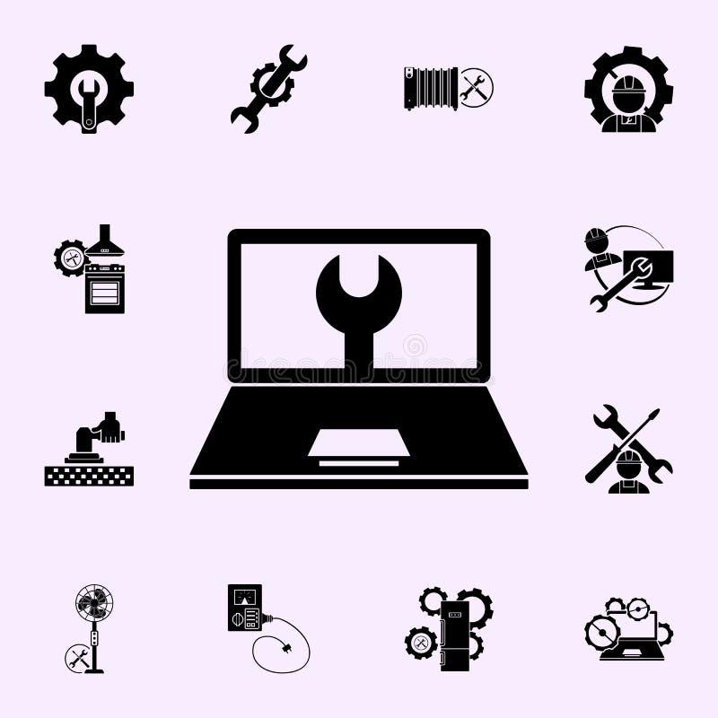 Komputer naprawa, wyrwanie ikona Remontowy ikony og?lnoludzki ustawiaj?cy dla sieci i wisz?cej ozdoby ilustracji