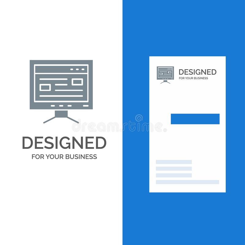 Komputer, nauka, edukacja logo Popielaty projekt i wizytówka szablon, Online, ilustracja wektor
