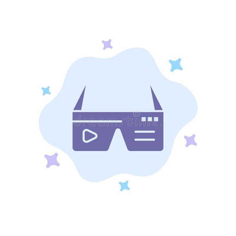 Komputer, Oblicza, Digital, szkła, Google Błękitna ikona na abstrakt chmury tle royalty ilustracja