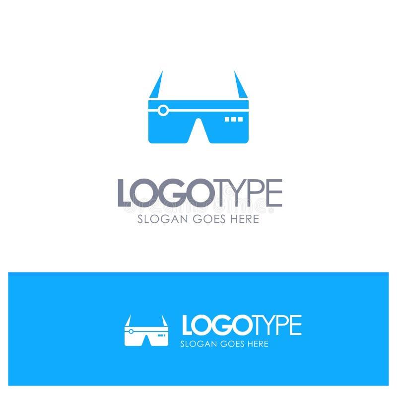 Komputer, Oblicza, Digital, szkła, Google Błękitny Stały logo z miejscem dla tagline ilustracji
