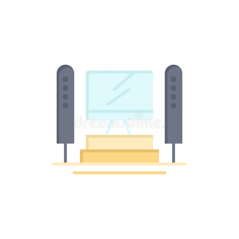 Komputer, Oblicza, serwer, jednostka centralna koloru Płaska ikona Wektorowy ikona sztandaru szablon royalty ilustracja