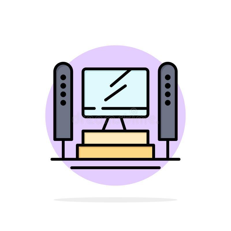 Komputer, Oblicza, serwer, jednostka centralna okręgu Abstrakcjonistycznego tła koloru Płaska ikona ilustracji