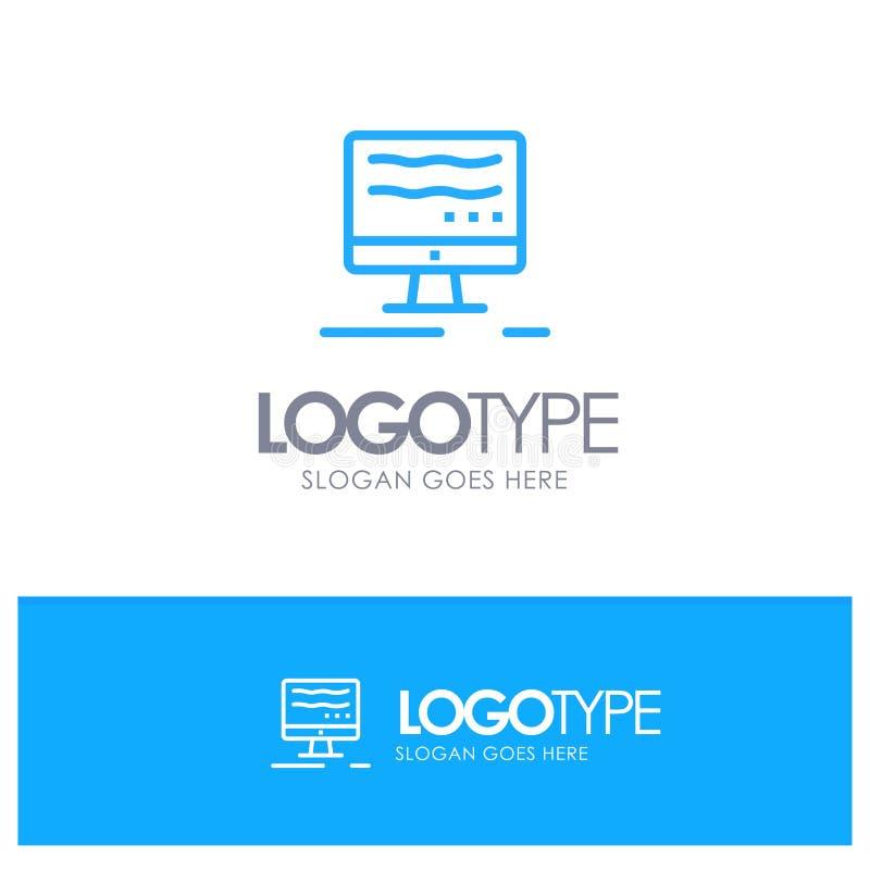 Komputer, Online, marketingu konturu logo Błękitny miejsce dla Tagline ilustracji