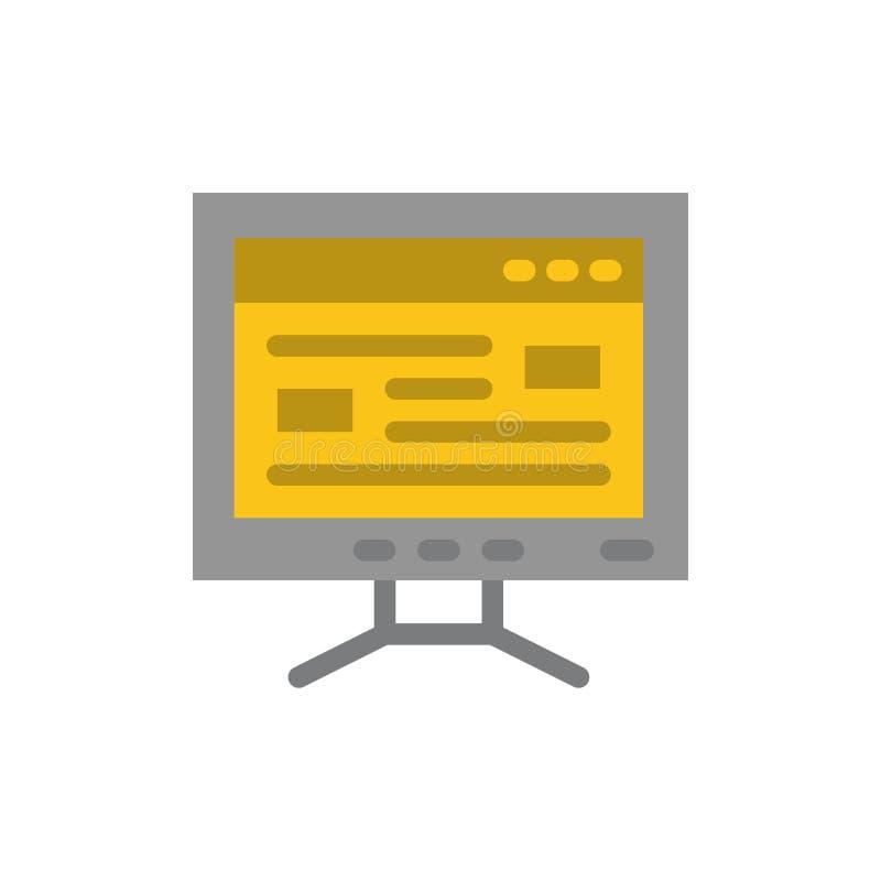Komputer, Online, nauka, edukacja koloru Płaska ikona Wektorowy ikona sztandaru szablon ilustracja wektor