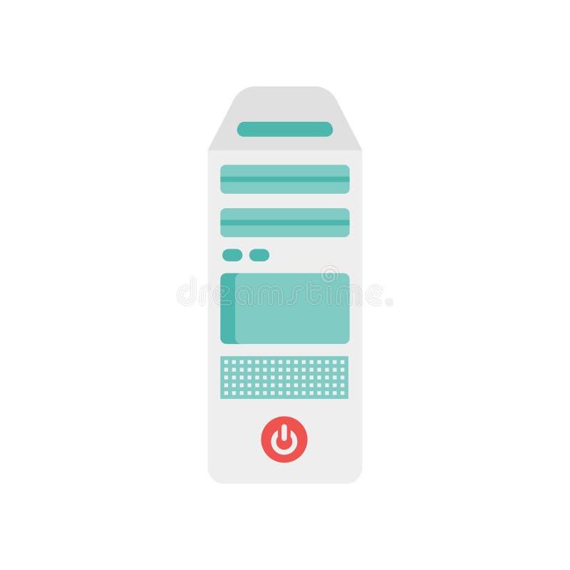 Komputer osobisty góruje ikona wektoru znaka i symbol odizolowywających na białym backgroun ilustracja wektor