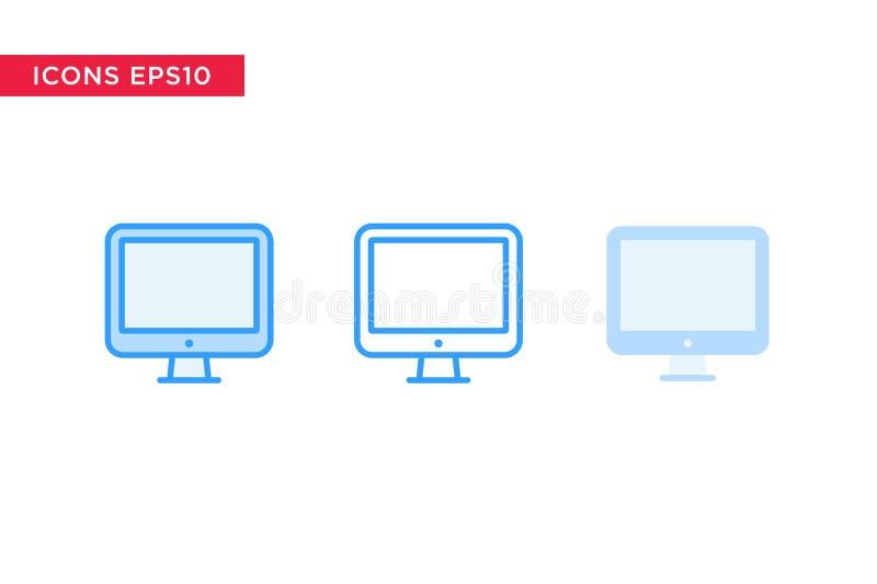 Komputer, komputer osobisty ikona w linii, kontur, wypełniający kontur i płaski projekta styl odizolowywający na białym tle, eps1 royalty ilustracja