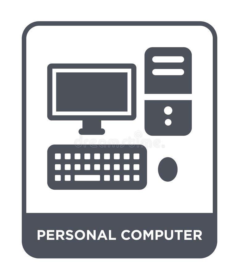 komputer osobisty ikona w modnym projekta stylu Osobistego komputeru ikona odizolowywająca na białym tle komputeru osobistego wek ilustracji