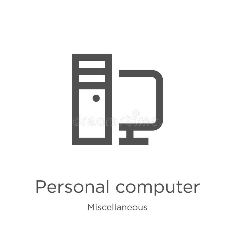 komputer osobisty ikony wektor od różnej kolekcji Cienka kreskowa komputeru osobistego konturu ikony wektoru ilustracja kontur ilustracji