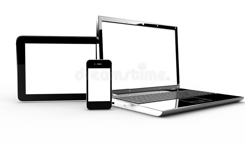 Komputer osobisty, pastylka i telefon, ilustracja wektor