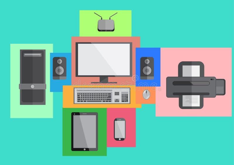 Komputer pastylki i telefonu ustalony mądrze płaski projekt royalty ilustracja