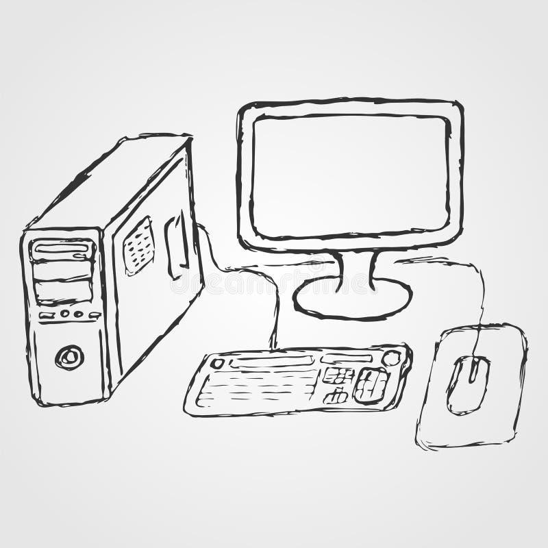 Komputer Pociągany ręcznie nakreślenie ilustracji