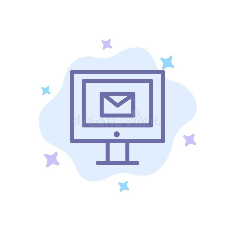 Komputer, poczta, gadka, Usługowa Błękitna ikona na abstrakt chmury tle ilustracji