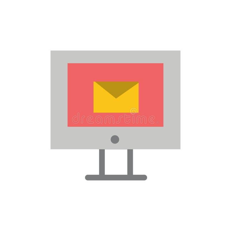 Komputer, poczta, gadka, Usługowego mieszkania koloru ikona Wektorowy ikona sztandaru szablon ilustracja wektor