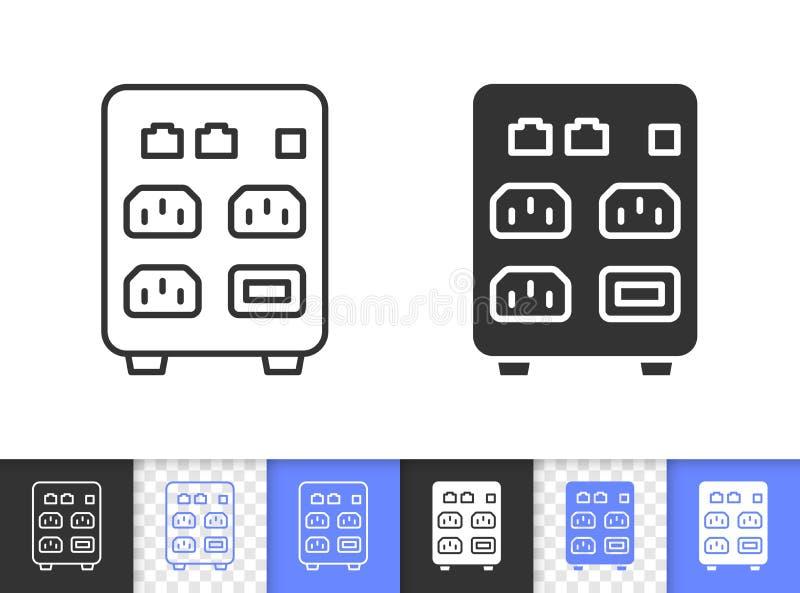 Komputer Podnosi prostą czerni linii wektoru ikonę ilustracji