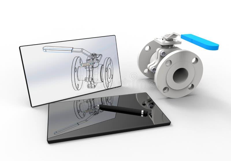 Komputer - pomagający projekt - klapy inżynieria royalty ilustracja