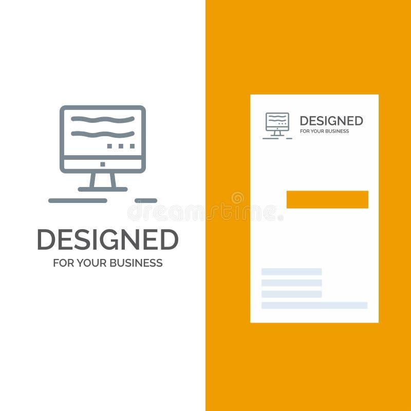 Komputer, Popielaty logo projekt i wizytówka szablon, Online, marketing, ilustracji