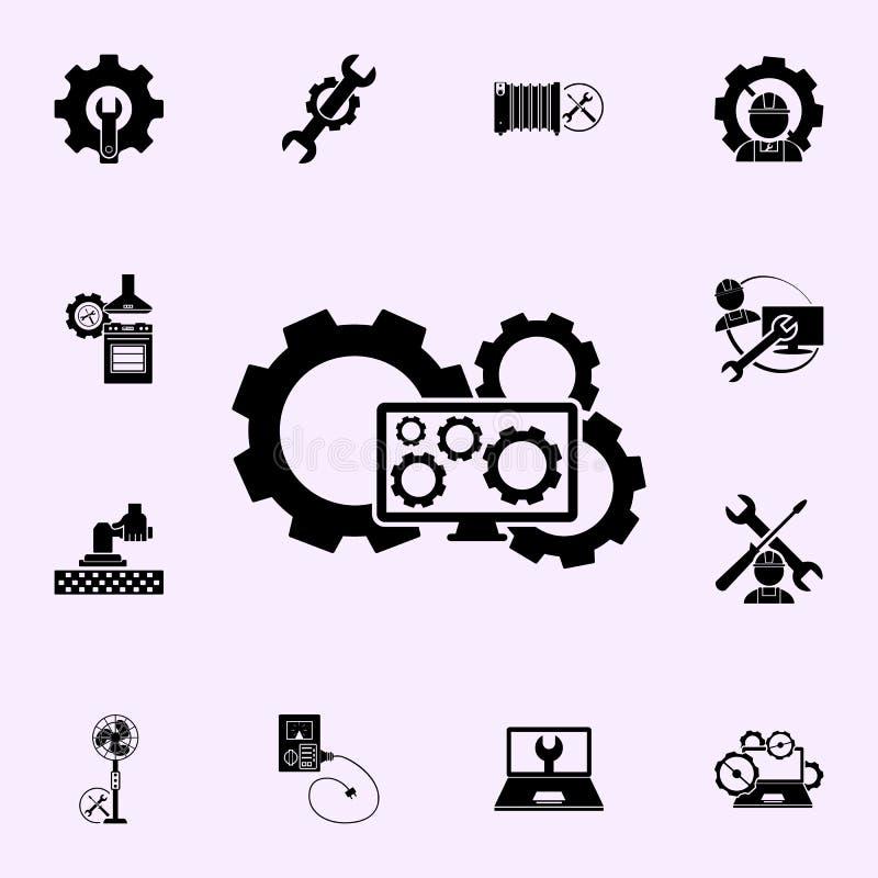 Komputer, przek?adnia, remontowa ikona Remontowy ikony og?lnoludzki ustawiaj?cy dla sieci i wisz?cej ozdoby ilustracja wektor