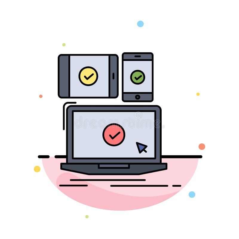 komputer, przyrząda, wisząca ozdoba, wyczulona, technologia koloru ikony Płaski wektor ilustracja wektor