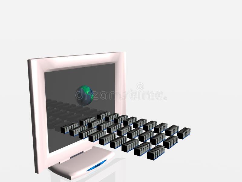 komputer rozciągnięty wirtualny wirusa ilustracja wektor