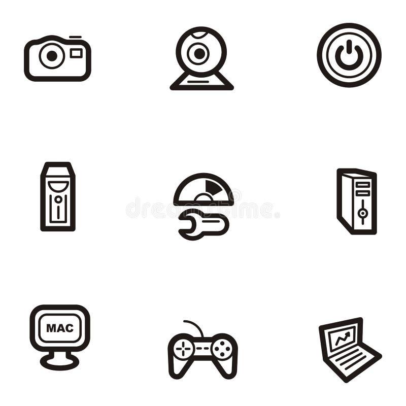 komputer serii ikony równiny ilustracja wektor