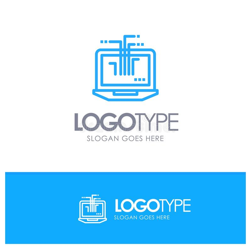 Komputer, sieć, laptop, narzędzia Błękitnego logo Kreskowy styl ilustracji