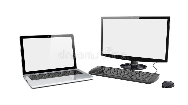 Komputer stacjonarny i laptop ilustracja wektor