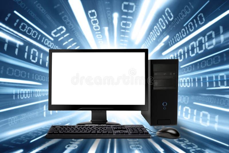 Komputer stacjonarny i połączenie z internetem fotografia stock