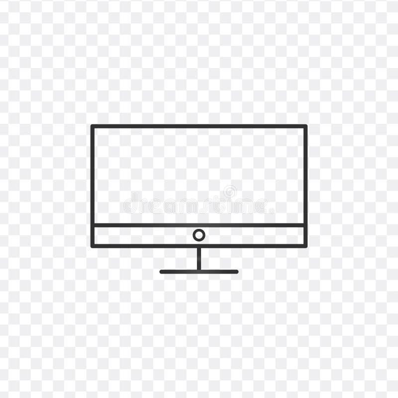 Komputer stacjonarny, monitor kreskowa ikona, konturu wektoru znak, liniowy stylowy piktogram odizolowywający na bielu Symbol, lo royalty ilustracja