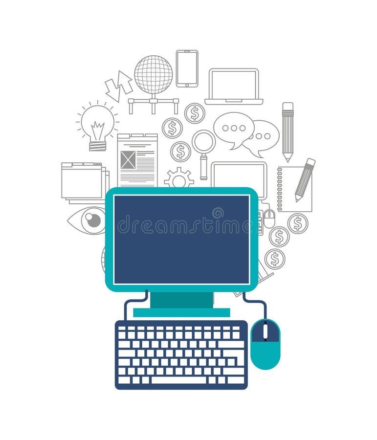 komputer stacjonarny technologii ikona ilustracja wektor