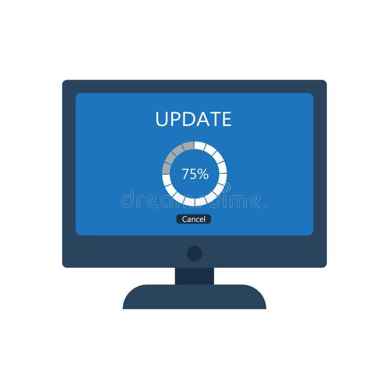 Komputer stacjonarny z aktualizacja ekranem royalty ilustracja