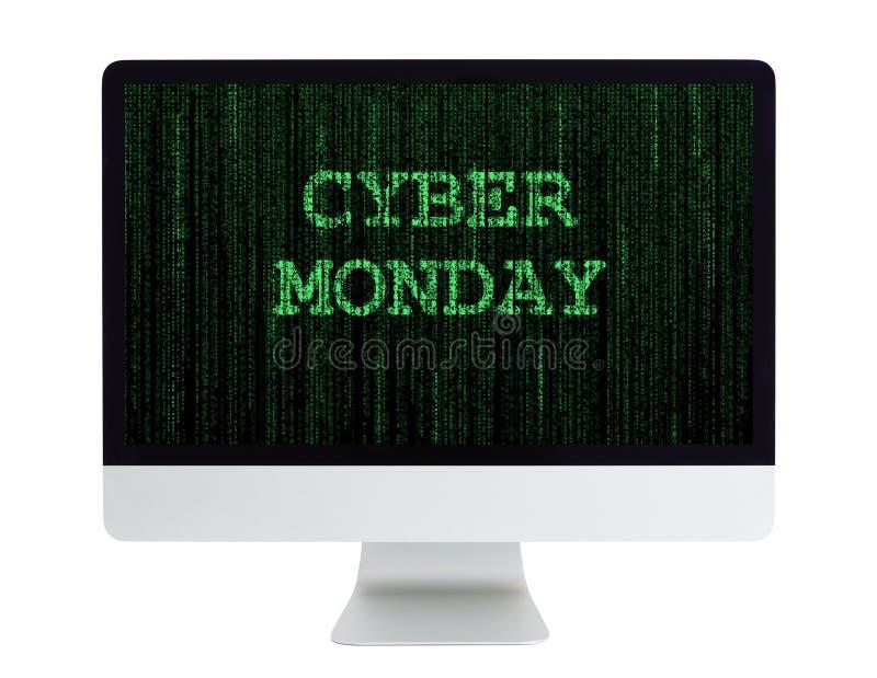 Komputer Stacjonarny z Cyber Poniedziałek na swój ekranie fotografia stock