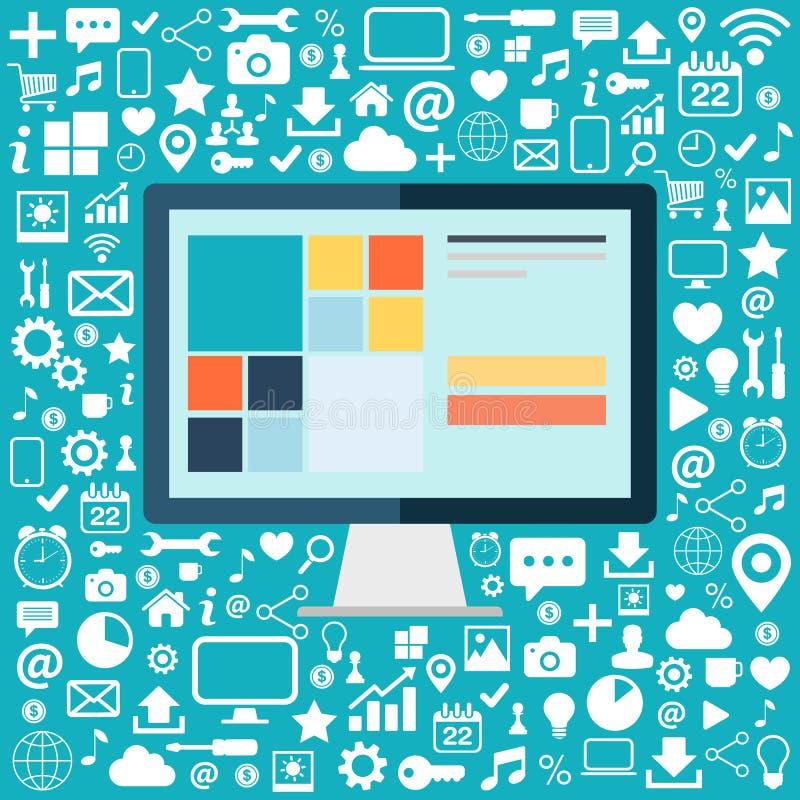 Komputer stacjonarny z ikonami ustawiać na błękitnym tle Płaska wektorowa ilustracja royalty ilustracja