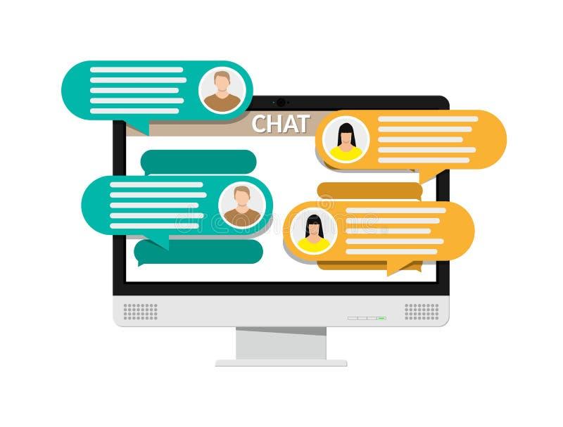 Komputer stacjonarny z przesyłanich wiadomości sms app ilustracja wektor