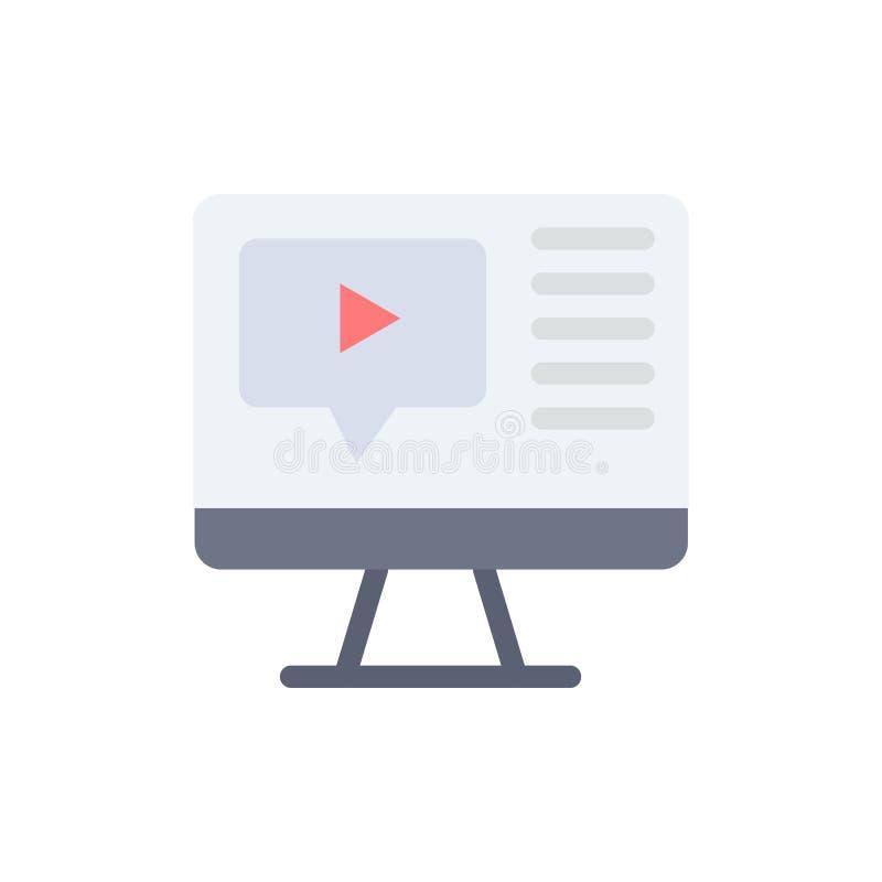 Komputer, sztuka, wideo, edukacja koloru Płaska ikona Wektorowy ikona sztandaru szablon ilustracja wektor