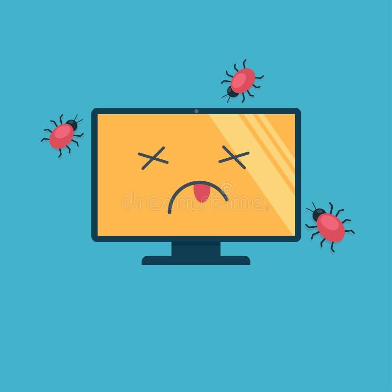 Komputer umierał jako rezultat wirusowego ataka Wirusy w postaci pluskw czołgać się wokoło nieżywego ścierwa ilustracji