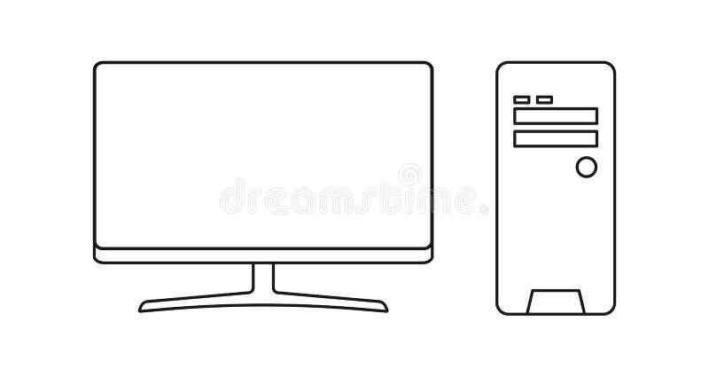 Komputer ustalona płaska ikona odizolowywająca na białym tle ilustracyjny nowożytny wektor royalty ilustracja