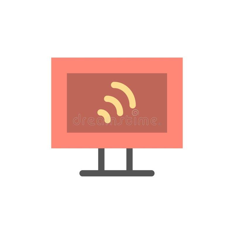 Komputer, Wifi, Usługowego mieszkania koloru ikona Wektorowy ikona sztandaru szablon royalty ilustracja
